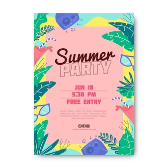 Summer party flyer template with leaves