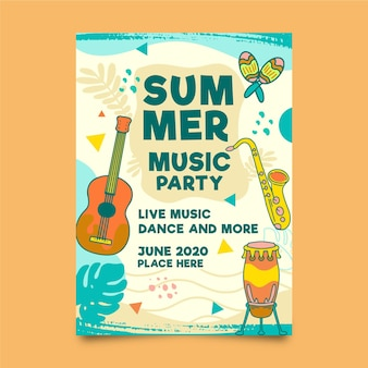 Summer party flyer template with musical instruments