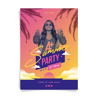Summer party flyer template with photo