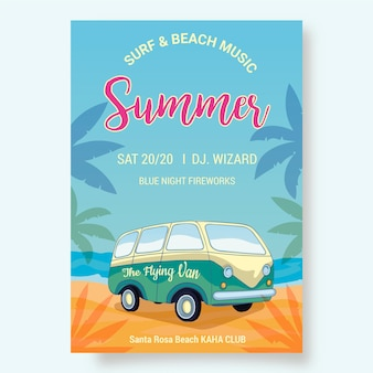 Summer party flyer template with van on beach