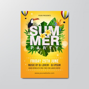 Summer party flyer template.