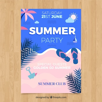 Summer party flyer with beach