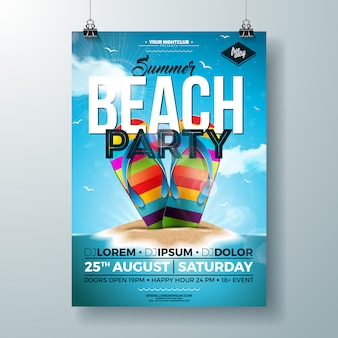Summer party flyer with colorful flip-flop on tropical island