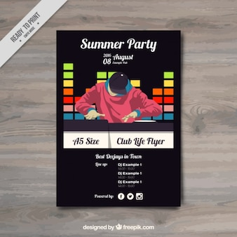 Summer party flyer with a dj