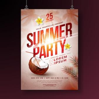 Летняя вечеринка flyer с цветком и кокосом