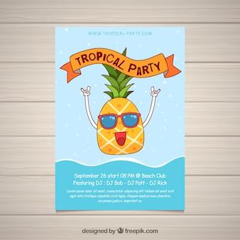 Volantino festa estiva con ananas divertente