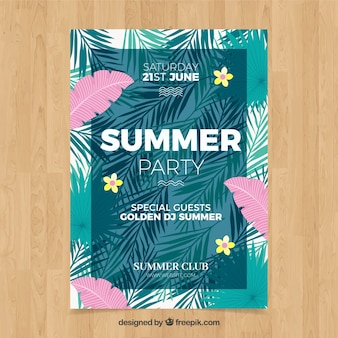 Summer party flyer with leaves