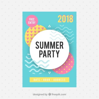 Summer party flyer with memphis style