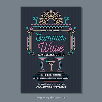 Summer party flyer with monolines