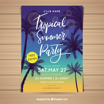 Summer party flyer with palm trees