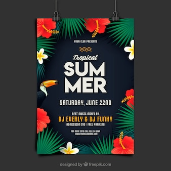 Summer party flyer with plants