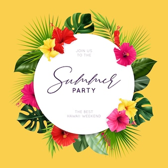 Summer party flyer with realistic hibiscus composition