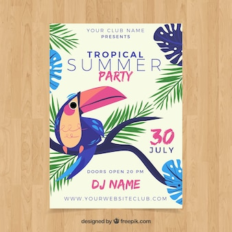 Summer party flyer with tropical bird