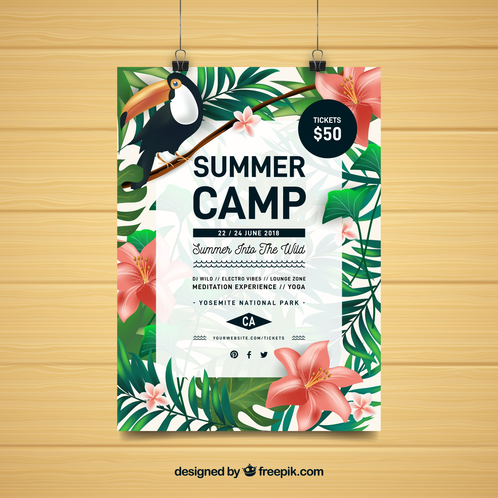 Summer party flyer with tropical plants
