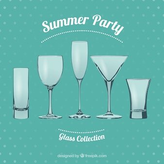 Summer party glasses Free Vector