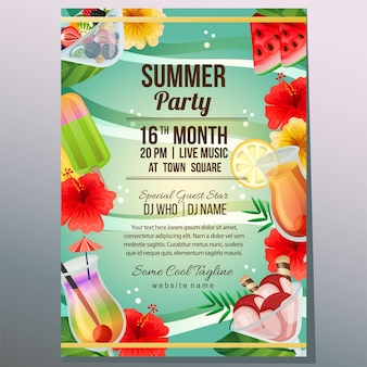 Summer party holiday poster template beach refreshment object vector illustration