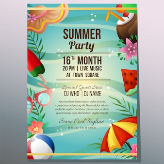 Summer party holiday poster template beach sand umbrella object