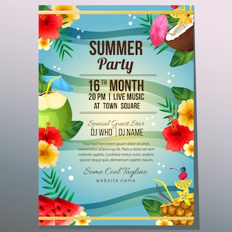 Summer party holiday poster template sea and cocktail drink vector illustration