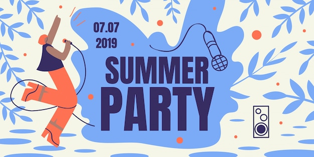 Summer party horizontal retro colored banner flyer