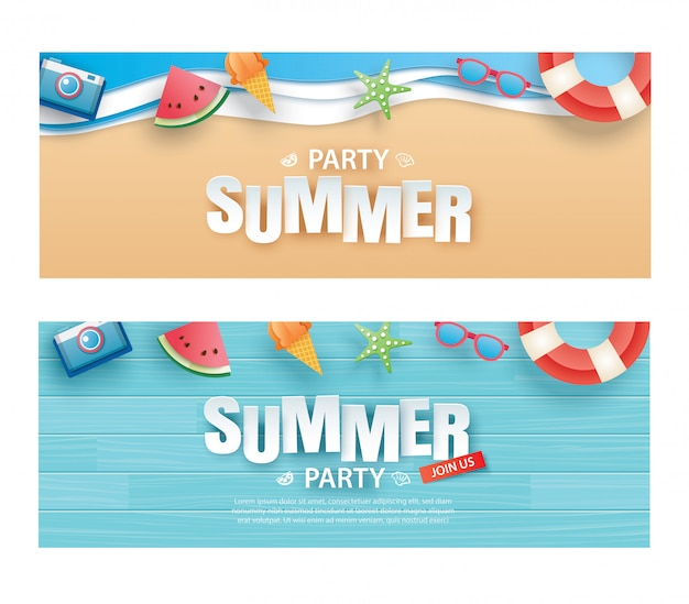 Summer party invitation banner with decoration origami
