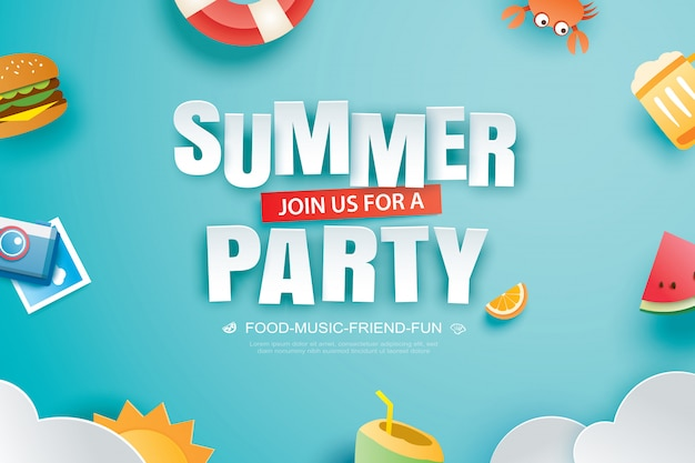 Summer party invitation banner with decoration origami.
