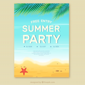 Summer party invitation on the beach