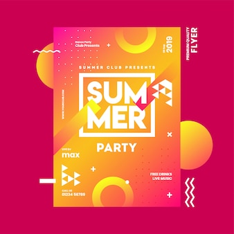 Summer party invitation card template
