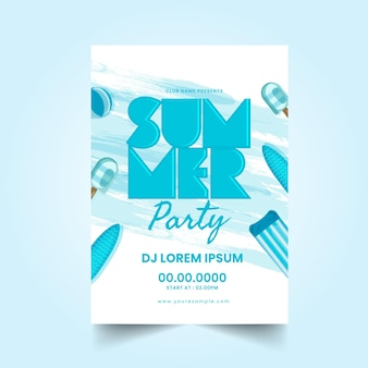 Пригласительный билет на летнюю вечеринку с деталями события и элементами пляжа.