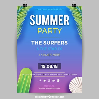 Summer party invitation in realistic style