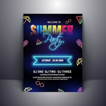 Summer party invitation poster design with neon effect on brick