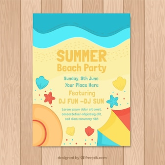 Summer party invitation with beach top view