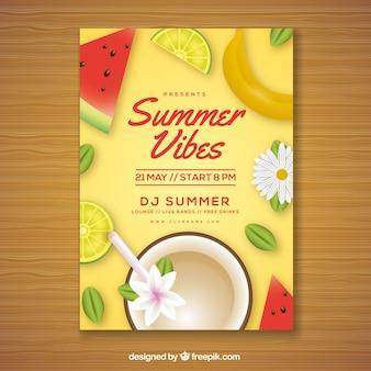 Летнее приглашение с вкусными фруктами в реалистичном стиле