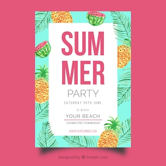 Summer party invitation with different fruits