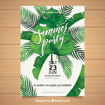 Summer party invitation with different plants