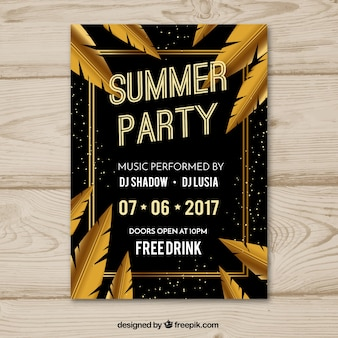 Summer party invitation with golden leaves