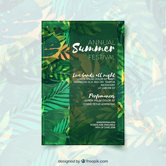 Summer party invitation with green plants