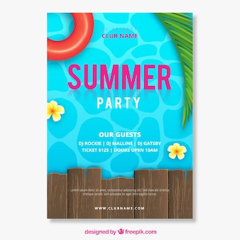 Summer party invitation with pool in realistic style