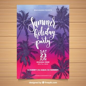 일몰과 야자수 나무와 여름 파티 초대장