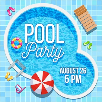 Summer party invitation with swimming pool template