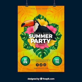 Summer party invitation with toucan in realistic style