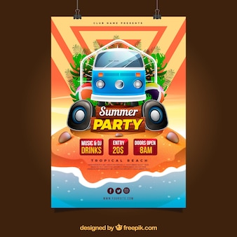 Summer party invitation with van in realistic style