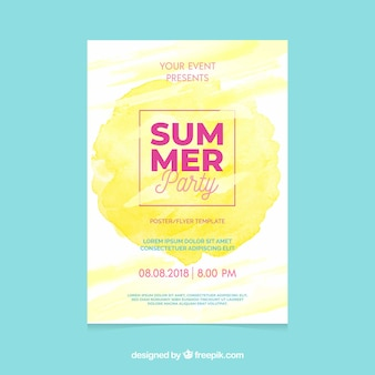Summer party invitation with watercolor stain