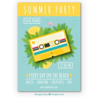 노란색 테이프로 여름 파티 초대장