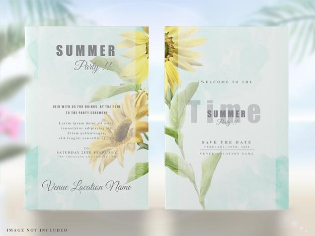 여름 파티 초대장 꽃 녹지