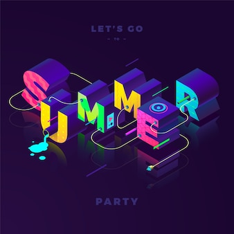 Summer party, isometric colorful sign