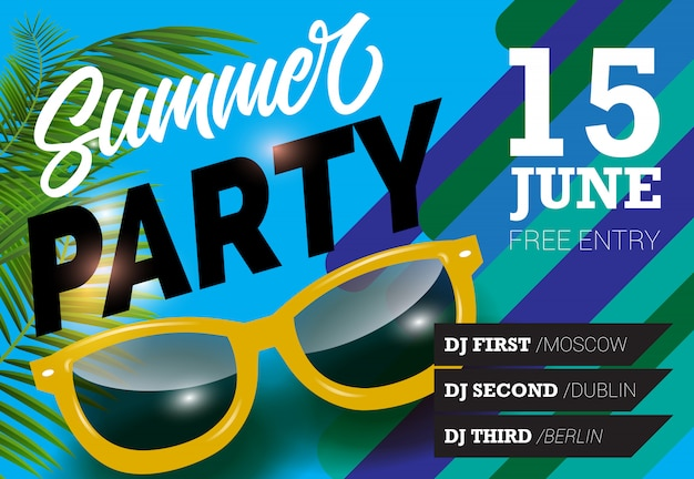 Summer party, june fifteen lettering with sunglasses. summer invitation
