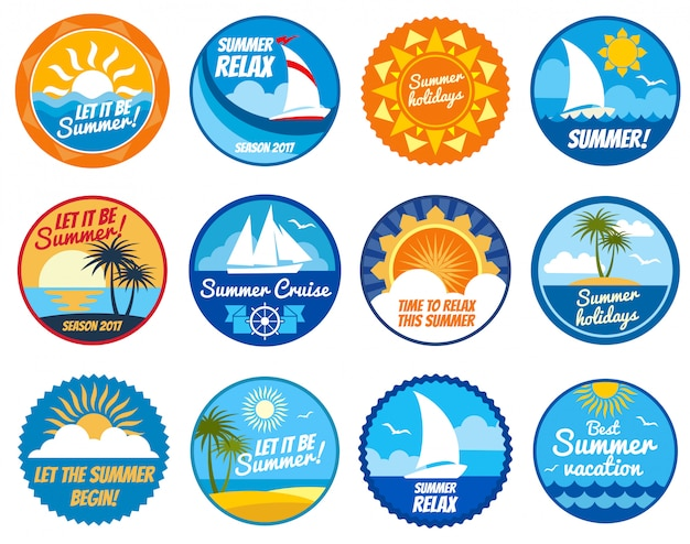 Summer party labels and emblems with sun and sea beach.