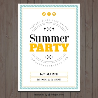 Summer party leaflet template with color details