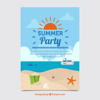 Summer party leaflet with beach in flat design
