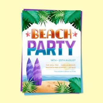 Летняя вечеринка надписи шаблон плаката Бесплатные векторы